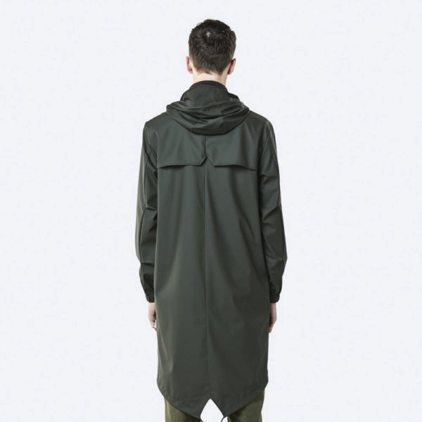 rains fishtail parka green back